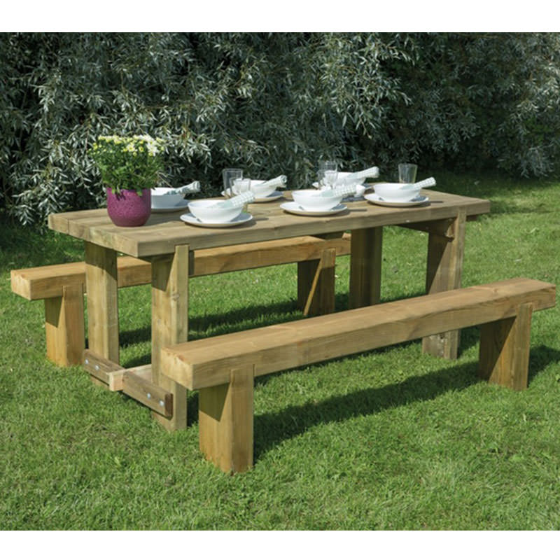 Groovy Rustic Sturdy 1 8M Garden Refectory Table And 2 Benches Set Outdoor Dining Furniture Gamerscity Chair Design For Home Gamerscityorg