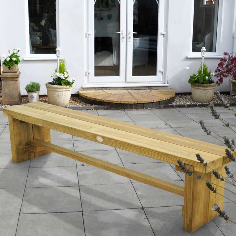 Stupendous Sturdy Wooden 1 8M Double Sleeper Garden Bench Outdoor Seating Squirreltailoven Fun Painted Chair Ideas Images Squirreltailovenorg