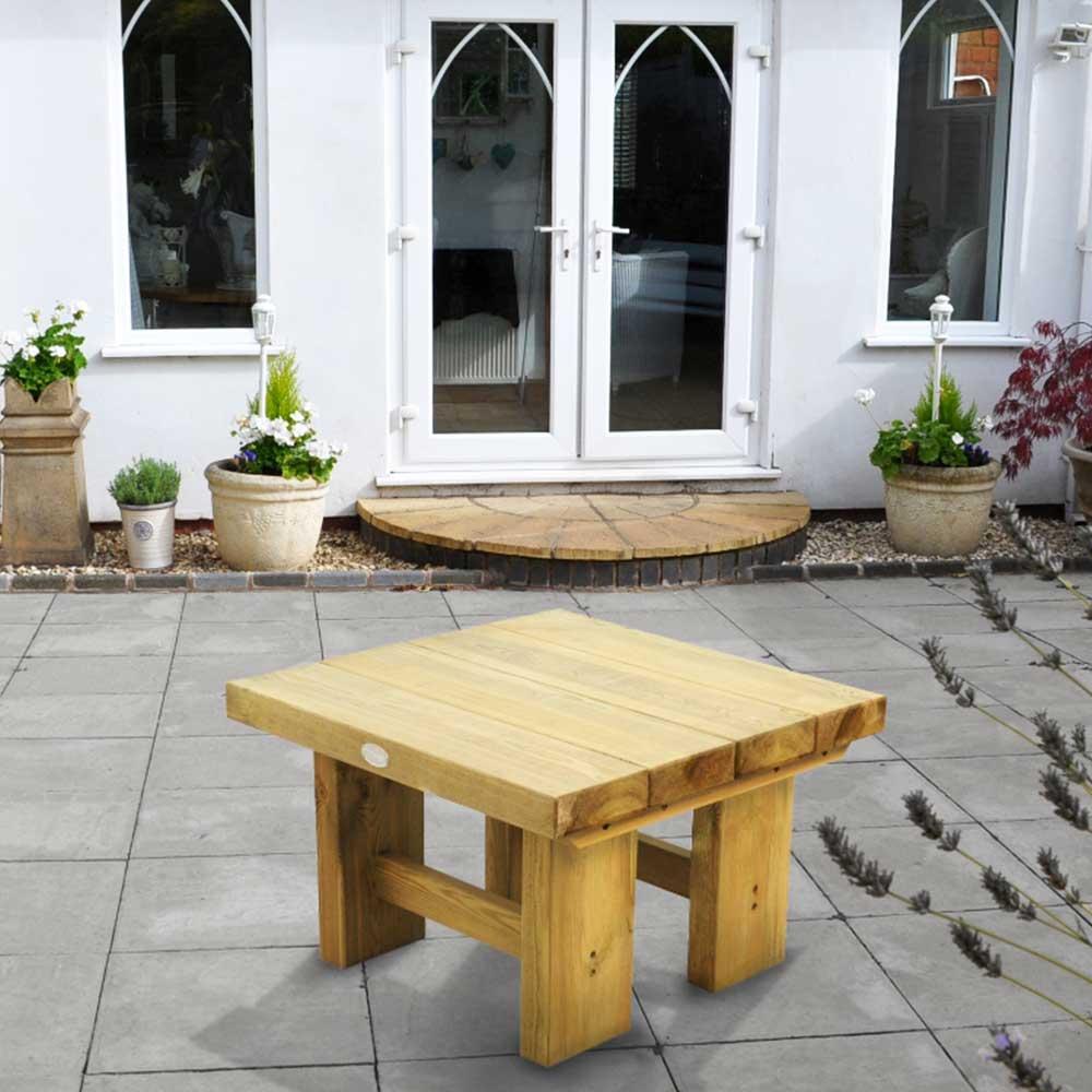 Fantastic Wooden Low Level Sleeper Square Garden Patio Coffee Table 0 7M Uwap Interior Chair Design Uwaporg