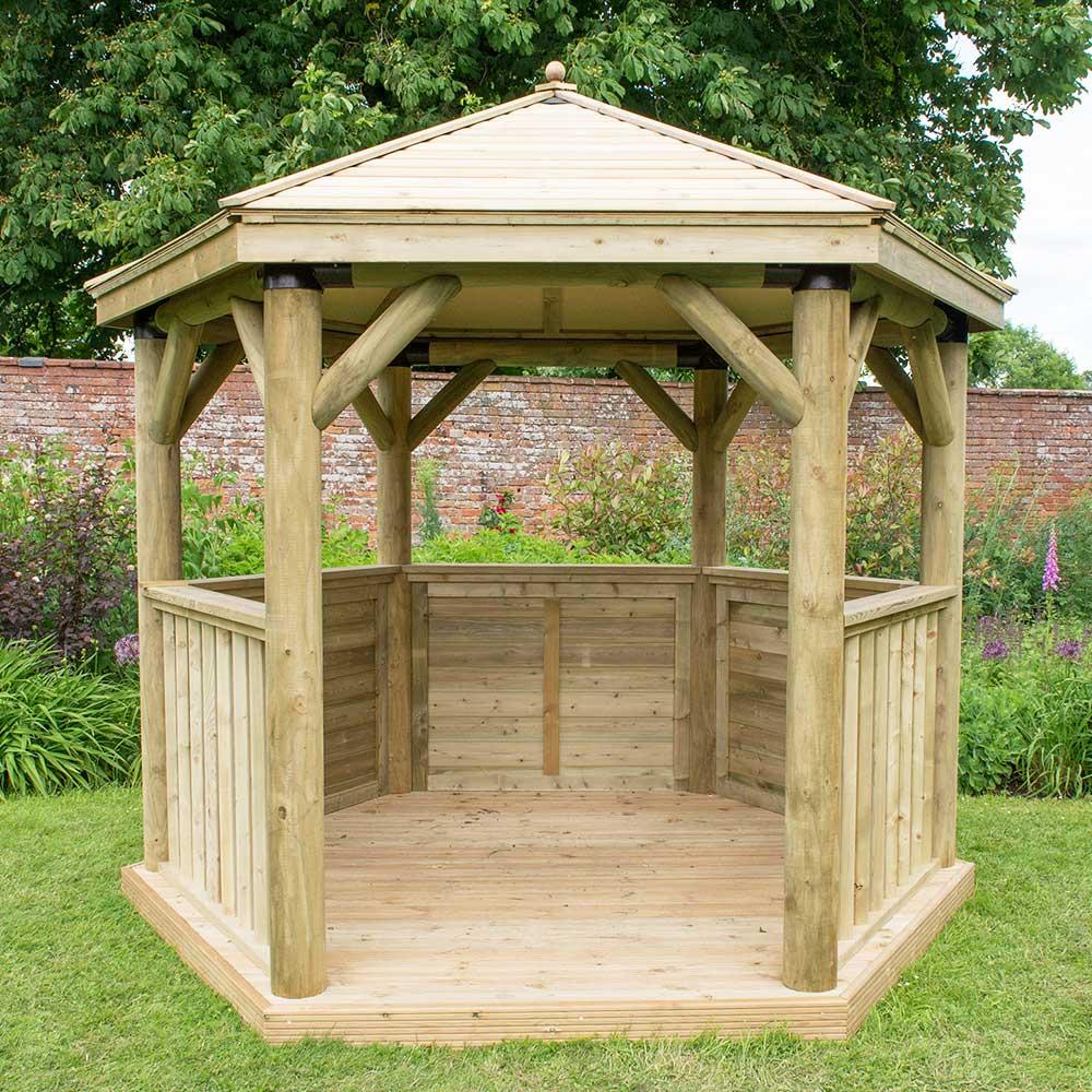 3 0m Hexagonal Wooden Pressure Treated Garden Gazebo