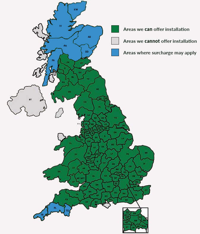 Shed/Garden Buildings Installation areas map