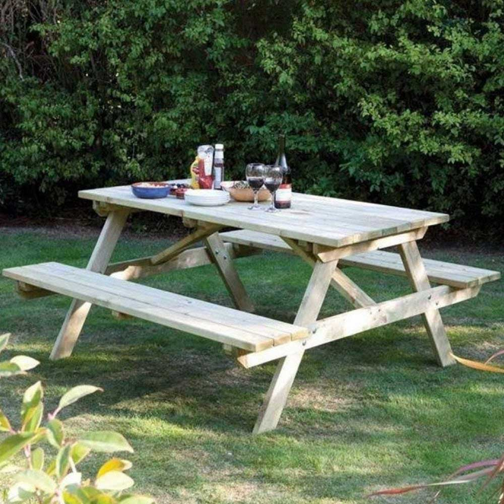 Tremendous 4Ft Garden Picnic Table With Attached Benches Seats 4 Beatyapartments Chair Design Images Beatyapartmentscom
