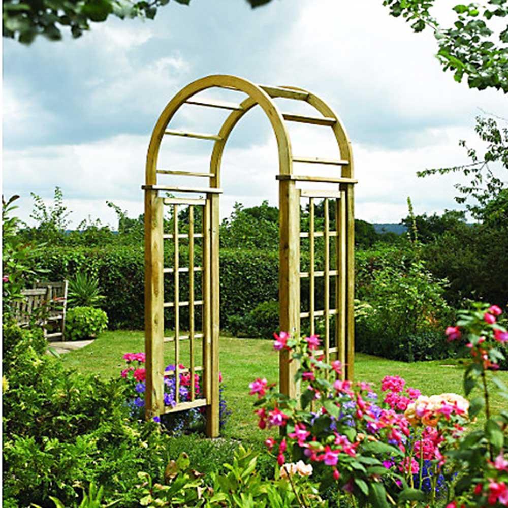 Wooden Garden Heavy Duty Round Top Trellis Arch