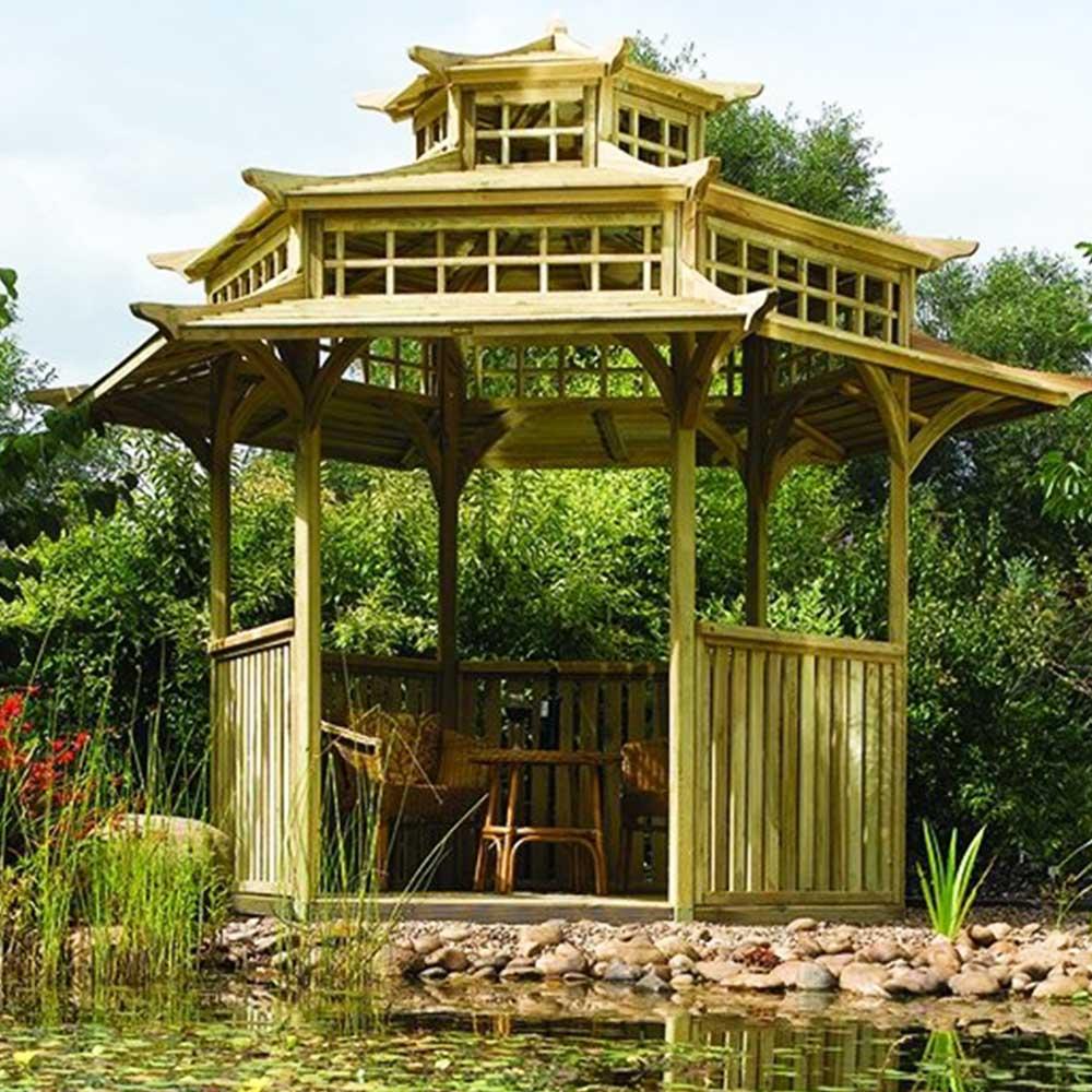 Wooden Garden Oriental Pagoda Japanese Design Gazebo Pure Garden Buildings
