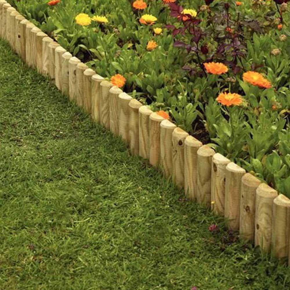 """Wooden 12"""" Garden Border Fence, Edging 2 Pack"""