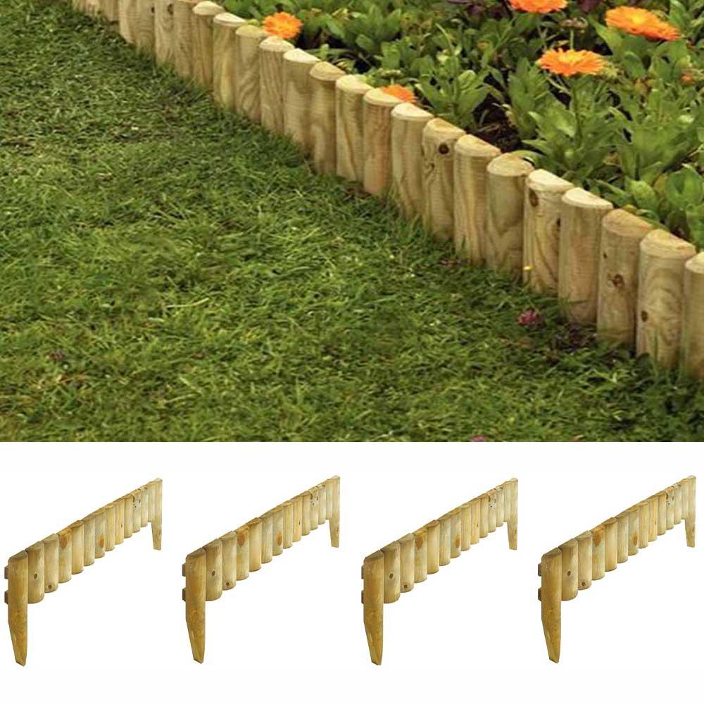 Wooden 12 Garden Border Fence Edging 4 Pack